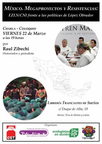 Cartel anunciador charla Raúl Zibechi en la librería Traficantes d eLibros de Madrid